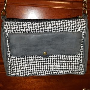 Houndstooth and pleather small crossbody purse